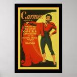 Publicidad del teatro del vintage del ~ de Carmen Posters