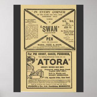 Publicidad del vintage cacerolas del cisne los a posters