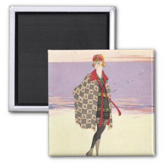 Publicidad del vintage - chica en la playa imán cuadrado