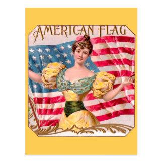 Publicidad del vintage de la bandera americana postal