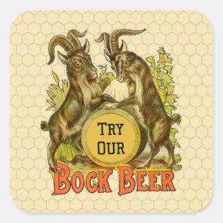 Publicidad del vintage de las cabras de la cerveza pegatina cuadrada