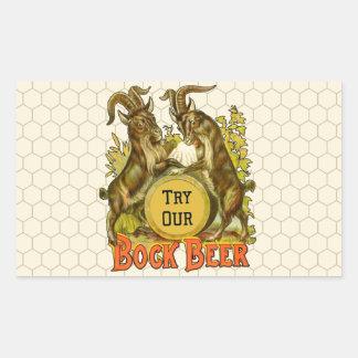 Publicidad del vintage de las cabras de la cerveza pegatina rectangular