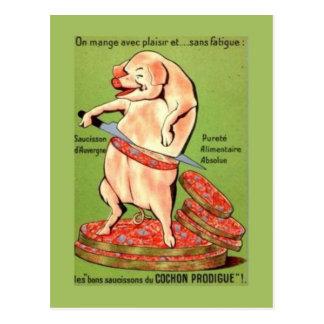 Publicidad del vintage, francés, juntas del cerdo postal