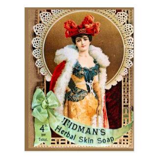 Publicidad del vintage, jabón herbario de la piel  postal