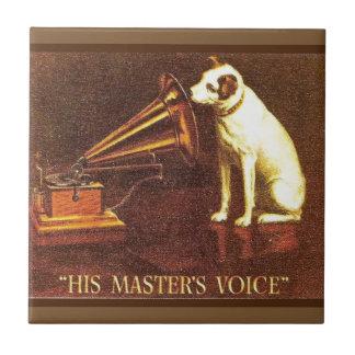 Publicidad del vintage, la voz de su amo azulejo cuadrado pequeño