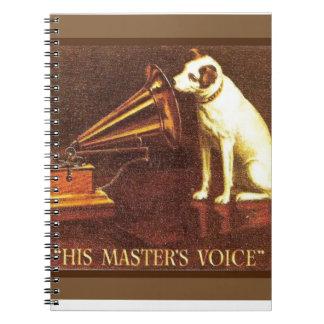 Publicidad del vintage la voz de su amo libretas