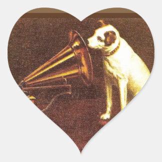 Publicidad del vintage, la voz de su amo pegatina en forma de corazón