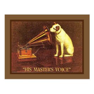 Publicidad del vintage la voz de su amo tarjeta postal