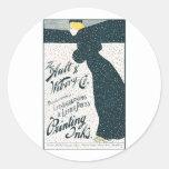 Publicidad del vintage - mujer que patina en torme pegatina redonda