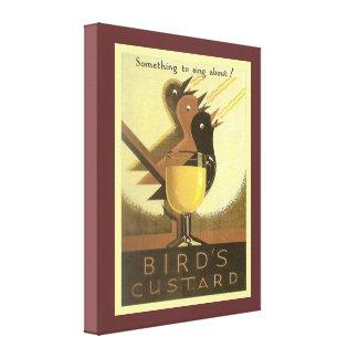 Publicidad del vintage, natillas de los pájaros impresion de lienzo