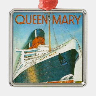 Publicidad del vintage, RMS Queen Mary Adorno Navideño Cuadrado De Metal