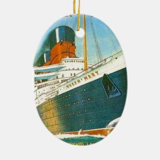 Publicidad del vintage, RMS Queen Mary Adorno Navideño Ovalado De Cerámica