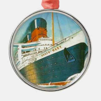 Publicidad del vintage, RMS Queen Mary Adorno Navideño Redondo De Metal