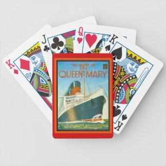 Publicidad del vintage, RMS Queen Mary Baraja De Cartas Bicycle