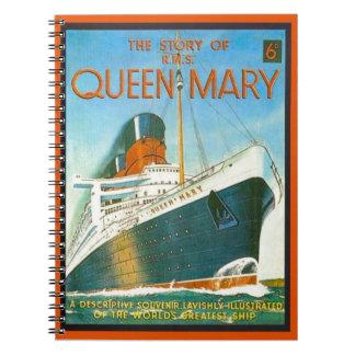 Publicidad del vintage RMS Queen Mary Libro De Apuntes Con Espiral