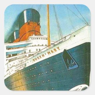 Publicidad del vintage, RMS Queen Mary Pegatina Cuadrada