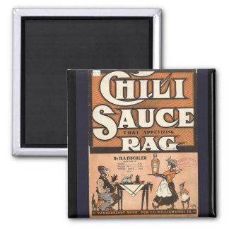 Publicidad del vintage, trapo de la salsa de chile imán cuadrado