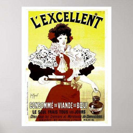 Publicidad francesa de la sopa de la carne de vaca póster