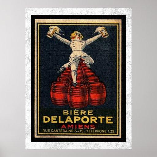 Publicidad francesa del barril de cerveza del póster