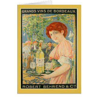 Publicidad francesa del vino de Burdeos blanco del Tarjeta De Felicitación