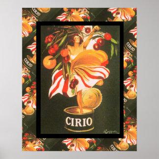 Publicidad francesa del vintage, fruta de Cirio Póster