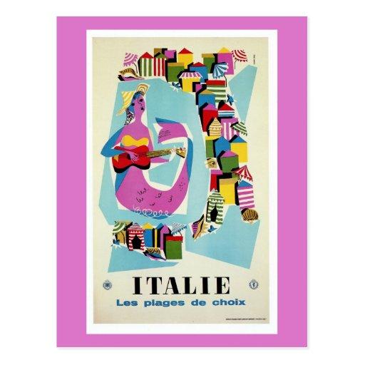 Publicidad italiana del viaje de Italia del vintag Postales