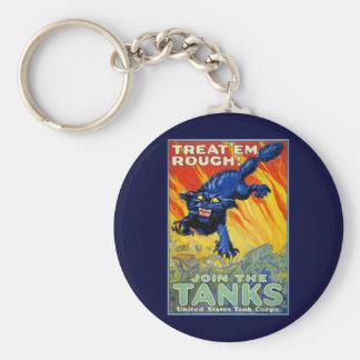 Publicidad militar de la guerra del vintage con un llavero redondo tipo chapa