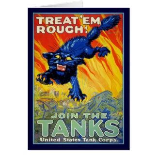 Publicidad militar de la guerra del vintage con un tarjeta de felicitación