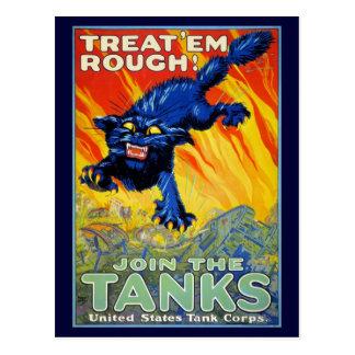 Publicidad militar de la guerra del vintage con un postal