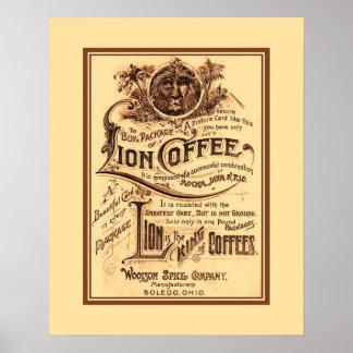 Publicidad restaurada antigüedad del café del león poster