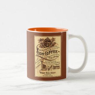 Publicidad restaurada antigüedad del café del león tazas de café