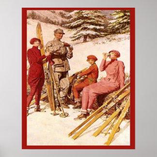 Publicidad retra del vintage, poster del esquí, mo