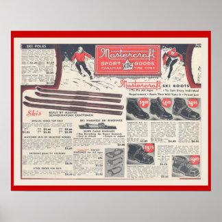 Publicidad, Skiwear y equipo del esquí del vintage Póster