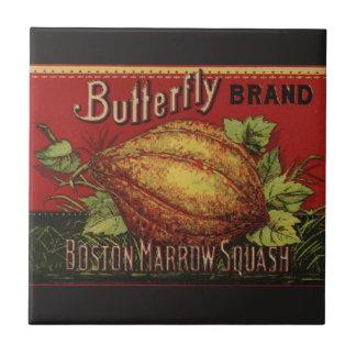 Publicidad vegetal de la antigüedad de la etiqueta azulejo cuadrado pequeño