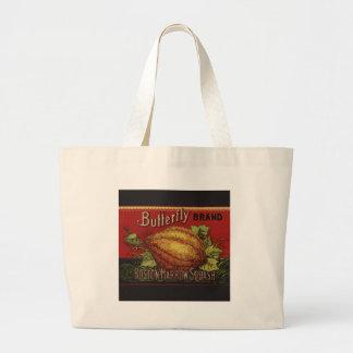 Publicidad vegetal de la antigüedad de la etiqueta bolsa tela grande