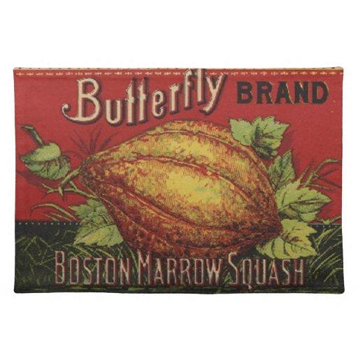 Publicidad vegetal de la antigüedad de la etiqueta mantel individual