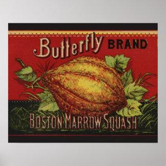 Publicidad vegetal de la antigüedad de la etiqueta posters