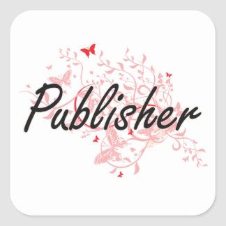 Publisher Artistic Job Design with Butterflies Square Sticker