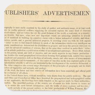 Publishers' Advertisement Square Sticker