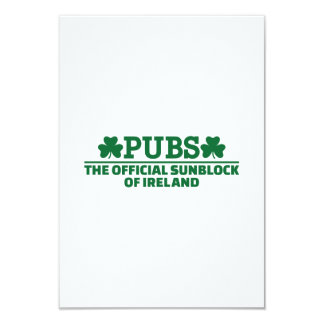 Pubs official sunblock of Ireland 3.5x5 Paper Invitation Card