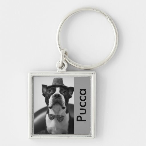 Pucca Ⅶ Silver-Colored Square Keychain