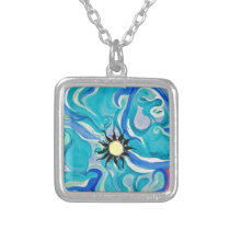 Pucci Blue Silver Plated Necklace