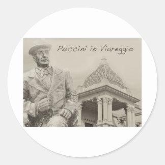 Puccini en la antigüedad de Viareggio Etiquetas Redondas
