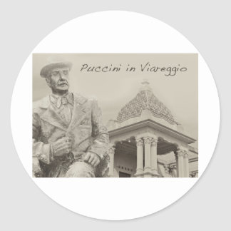 Puccini in Viareggio Antique Classic Round Sticker