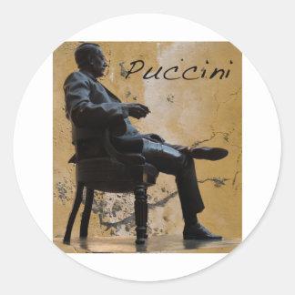 Puccini_Statue_Lucca Etiquetas Redondas