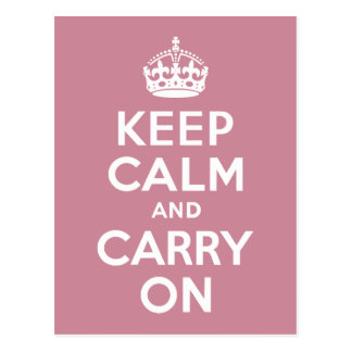 Puce Keep Calm and Carry On Postcard