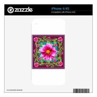 Puce-Pink Dahlias Floral Garden Fantasy iPhone 4S Skins