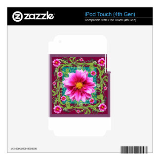 Puce-Pink Dahlias Floral Garden Fantasy Skins For iPod Touch 4G