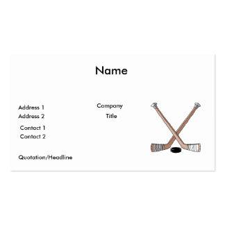puck and hockey sticks design business card