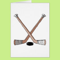 puck and hockey sticks design card